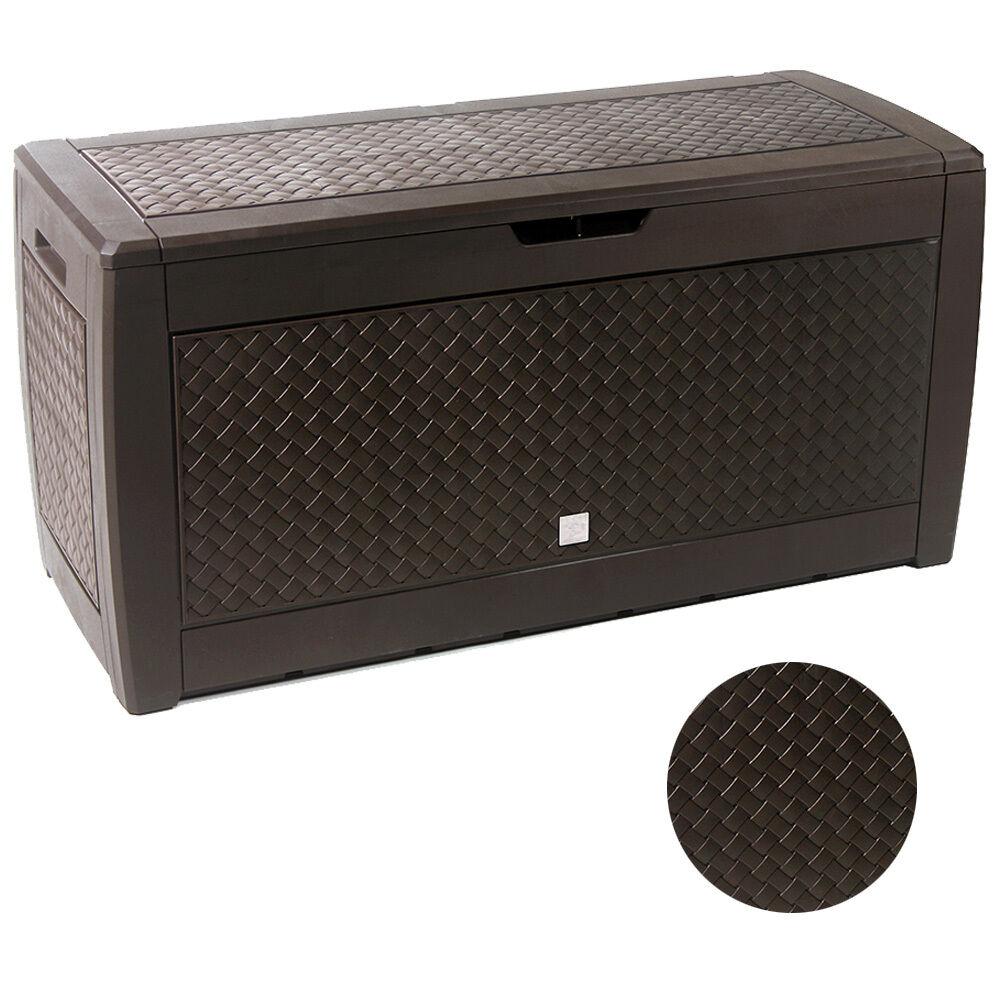 Auflagenbox Kunststoff 310L Rollen Truhe Flechtoptik Flechtoptik Flechtoptik Gartentruhe Kissenbox Braun 15ac06