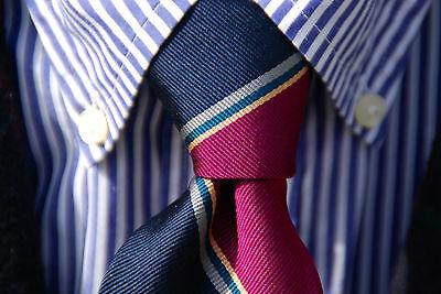 English Gentleman's Navy Violet Repp Striped 100% Silk Necktie