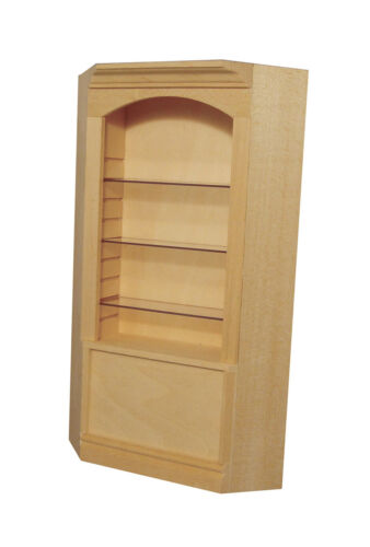 1:12 Scale Natural Finish Deluxe Corner Shelf Unit Dolls House Furniture 125