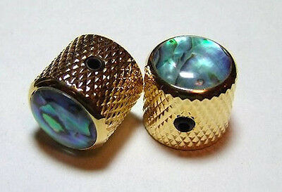 Guitar Parts METAL DOME KNOBS Knurled Barrel ABALONE TOP - Set of 2 - GOLD