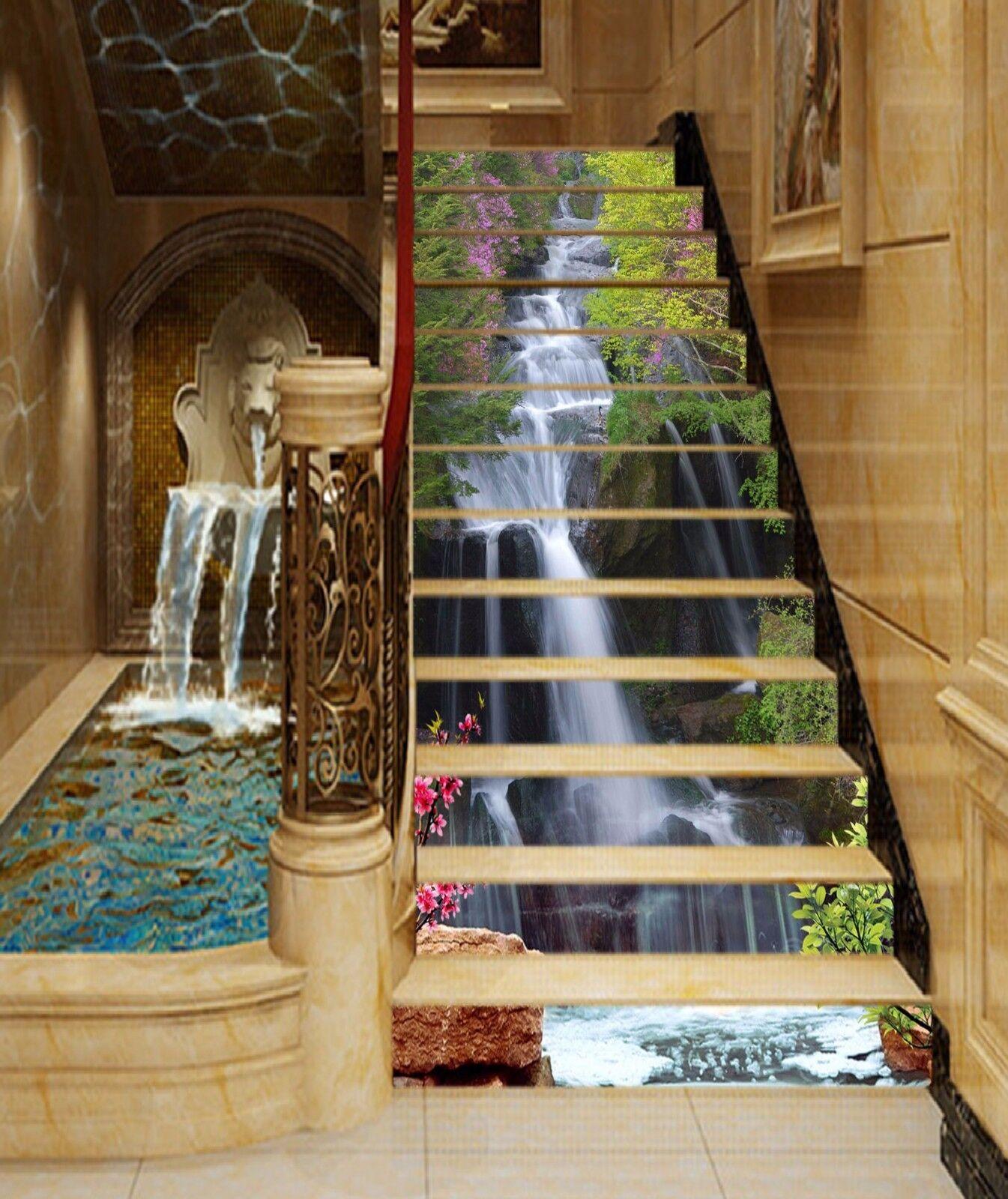 3D Waterfall leaves Stair Risers Decoration Photo Mural Vinyl Decal Wallpaper AU