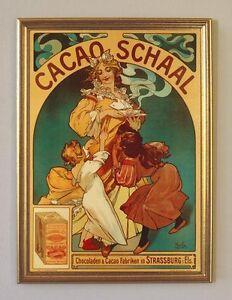 Design & Stil Alfons Mucha Cacao Schaal Plakat Jugendstil BÜttenfaksimile 1 Im Goldrahmen äSthetisches Aussehen