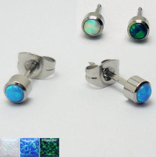 1 pares de pendientes pendientes acero inoxidable Opal piedra plata mujeres niños
