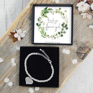 Silver-Plated-Beaded-Bracelet-Thank-You-Flower-Girl-Gift-Jewellery-Heart-Charm