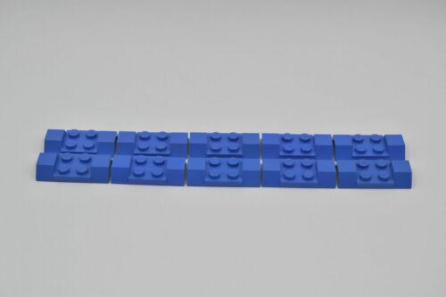 LEGO 10 x plaque 2x4 Garde-boue avant bleu Blue Wheel Case 3787