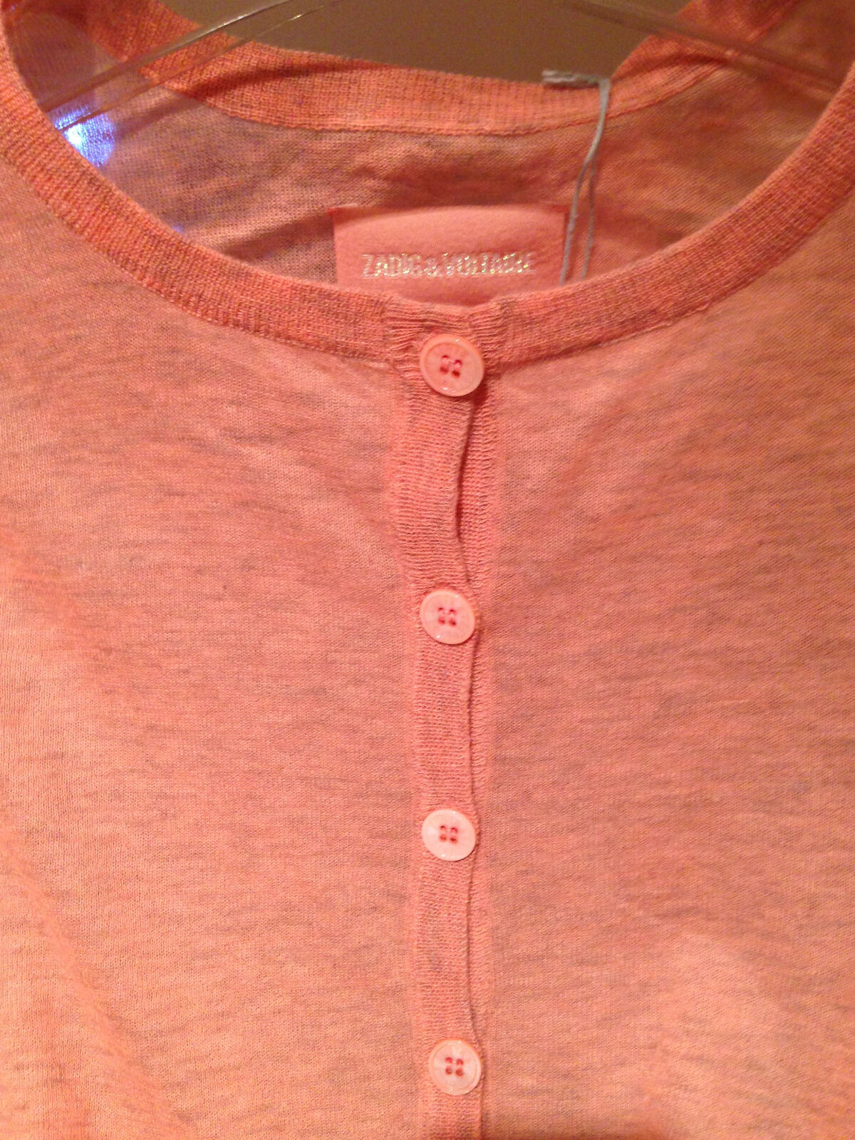 NWT  Zadig & Voltaire coral wool gauze henley size M