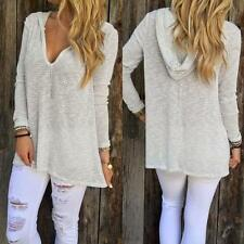 Womens Fashion Long Sleeve V-Neck Shirt Casual Blouse Loose Tops T Shirt