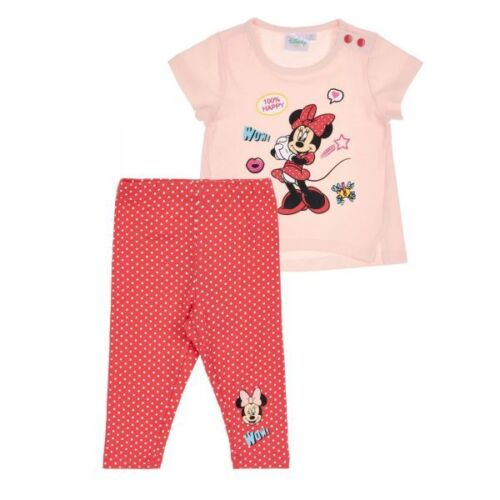 62-92 Disney Minnie Set Glitzerdruck rosa-rot Gr Zweiteiler