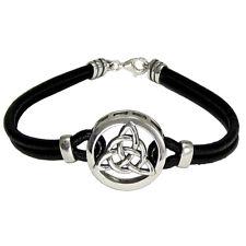 Sterling Silver Celtic Knot Triquetra Symbol Bracelet Genuine Leather Jewelry