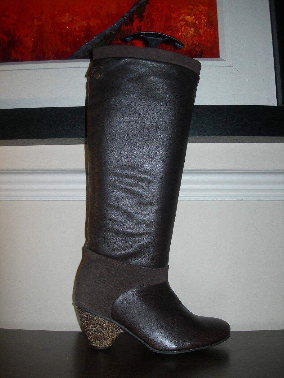 Fly London Para Mujer botas Pantorrilla Zapatos De Tacón Cuero Marrón