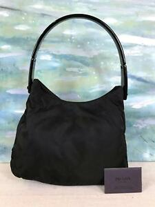 5c21b886bb66 $745 PRADA Black Nylon Canvas Hobo Shoulder Bag Lucite Strap Side ...