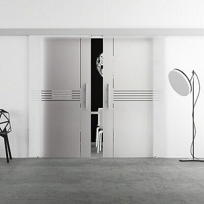 Doppel Glasschiebetür 2x 775 x 2050mm Glastür Schiebetür LEVIDOR BA2I7G