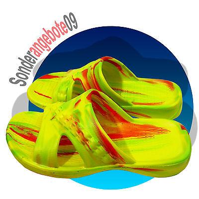 EVA Badelatschen Bunt Badeschuhe Gr. 36 37 38 39 40 41 gelb geflammt Magnus 37