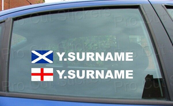 X4 rally tag name surname car window stickers decals england scotland flag ref3