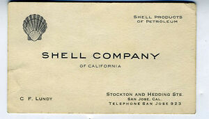 1920s business card cf lundy of san jose ca shell oil company of image is loading 1920s business card c f lundy of san jose colourmoves