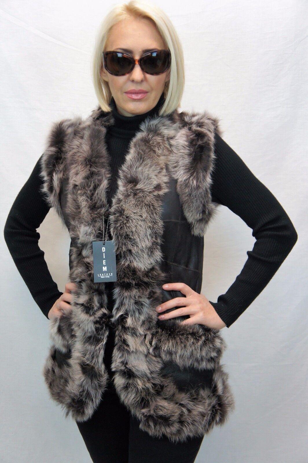 Long damen 100% GENUINE SHEEPSKIN SHEARLING LEATHER Toscana Fur Vest 4 Farbes