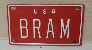 1960/'S VINTAGE MINI USA BRAM LICENSE PLATE NAME TAG SIGN BICYCLE VANITY PL8!