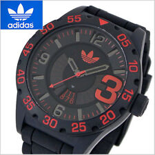 NEW ADIDAS NEWBURGH BLACK WITH RED TONE,BLACK SILICONE BAND WATCH ADH2965