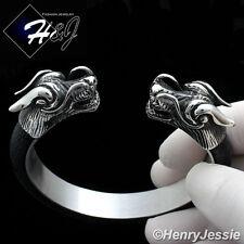 BIKER MEN Stainless Steel 12mm Silver/Black Dragon Heads Leather Adjust Bracelet