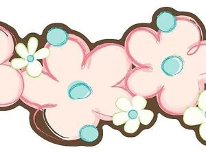 Laser-Cut-Floral-Pink-Blue-amp-Brown-with-Touch-of-Green-Wallpaper-Border-SK6354B
