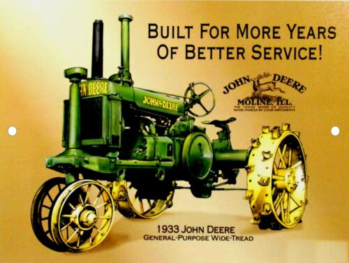 "JOHN DEERE 1933 GP Wide-Tread Moline VintageTractor 9/"" x 12/"" Aluminum Sign"