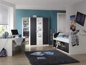 Jugendzimmer Rocco 4-teilig Kleiderschrank Jugendbett Schreibtisch ...