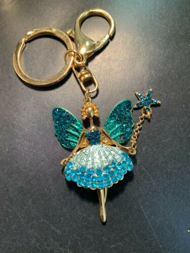 Details about  /Fashion Womens Fairy Shaped Keychain Crystal Keyring Handbag Charm