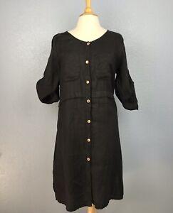Details about Couleur Lin Paris-Milan Women\'s Dress Italy Size 46 US Size  10 Black Linen