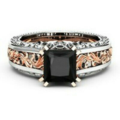 Fashion Women 925 Silver Rings Black Sapphire Jewelry Wedding