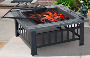 Luxury Fire Pit Outdoor Garden BBQ Firepit Brazier Table Stove Patio Heater 81cm