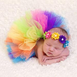 Rainbow-Baby-Infant-Newborn-Flower-Headband-Tutu-Dress-Skirt-Photography-Prop