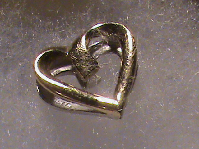 Beautiful 10k Two tone White and Yellow gold Heart Pendant