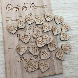 Image Is Loading 100 Personalised Timber Love Heart Wedding Decorations Bonbonnieres
