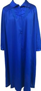 Vintage Vanity Fair Blue Nylon Housecoat Robe Size Large Button Front Pocket New