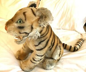 fast + free shipping Rare Vintage Steiff Bengal Tiger 17.5 Button Extra-Large 60s Open Mouth