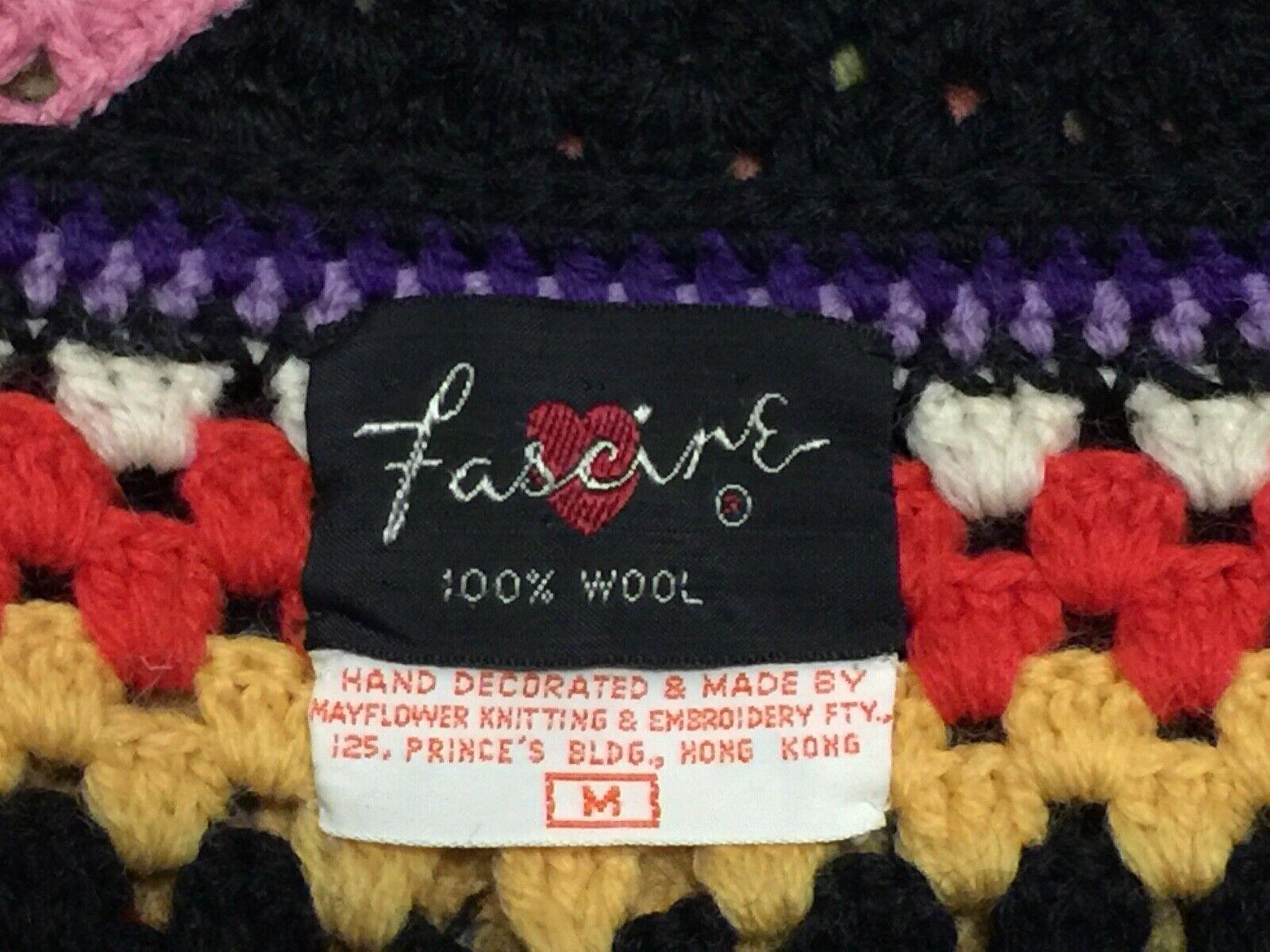 Vintage 70s Wool Handknit Crochet Black Multicolo… - image 9