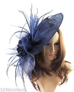 76aff7004ad4c Navy Blue Fascinator Hat For Weddings Ascot Proms With Headband M2 ...