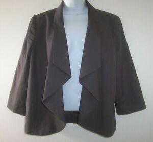 Halogen Women's Open Front Draped Blazer Jacket Size L Dark Gray Career
