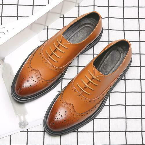Details about  /Mens Retro British Leather Shoes Pointy Toe Lace up Brogue Carved Business Party