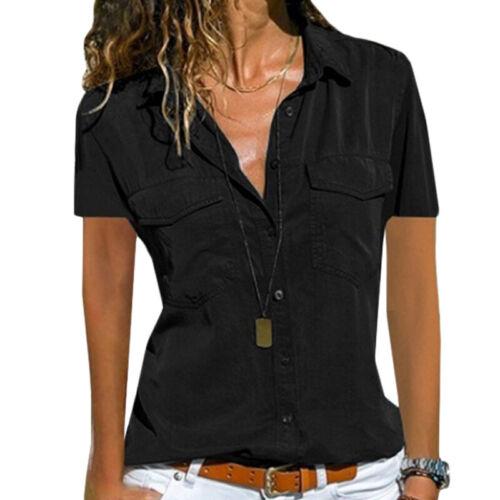 Übergröße Damen Bluse Kurzarm Business T-Shirt Top Hemden Oberteil Hemdbluse Tee