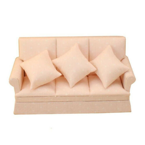 1:12 Dollhouse Miniature Furniture Room Modern 3 Seats Sofa With 3 Cushions ♫
