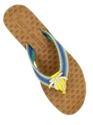 Women's Juicy Couture FAY Palm Tree Flip Flops Sandals Seaside bluee Multi US 5.5