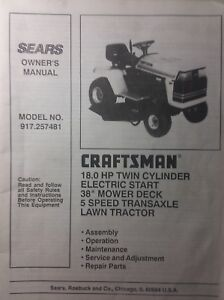 Image Is Loading Sears Craftsman 18 0 H P Lawn Tractor Amp