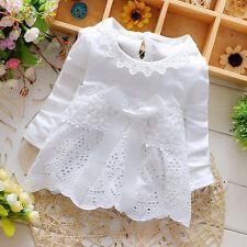 Newborn Baby Girls Long Sleeve Lace Flower Bow Dress Princess Party Kids Dresses
