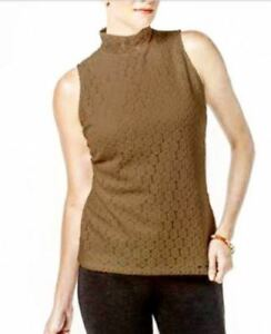 Charter-Club-Women-039-s-Lace-Mock-neck-Top-Salty-Nut
