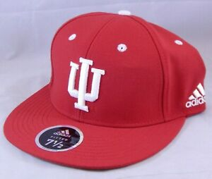 Indiana-University-Hoosiers-Adidas-Size-7-5-Fitted-Hat-Ball-Cap-Flat-Brim