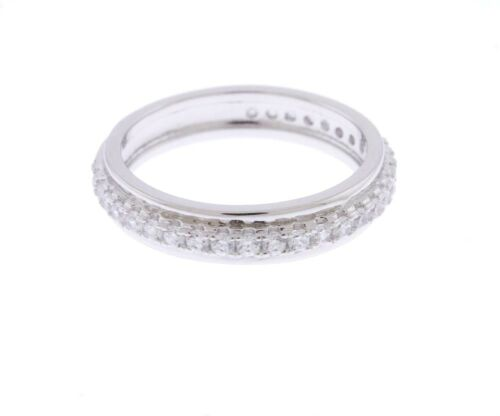 925 Sterling Silver 3.30 CTW Cubic Zirconia Round Cut Stones Band Ring Size 6-7