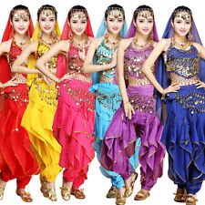 Gold Wavy Pants Bloomers /& Hip Scarf Belly Dance Costume Set 3 Pics Top