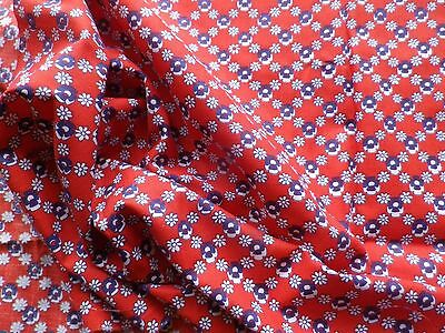 Vintage 1940's Cotton Dress Making Fabric Red Geometric Daisy Design