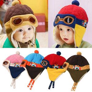 EE_ WINTER BABY EARFLAP TODDLER GIRL BOY KIDS PILOT AVIATOR CAP WARM BEANIE HAT
